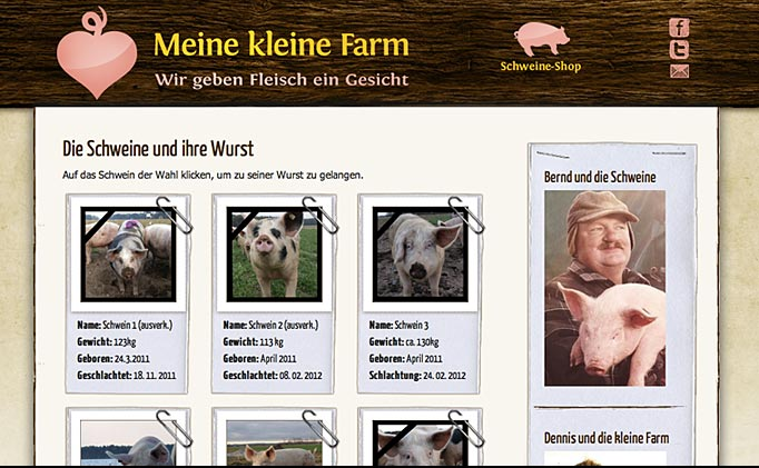The website of Meine Kleine Farm. Photo: Screen capture.