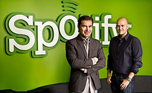 Spotify's founders Martin Lorentzon and Daniel Ek. Photo: Spotify
