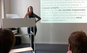 Amber Roussel speaking at an event during last year's Social Media Week Berlin. Photo: Berlinow