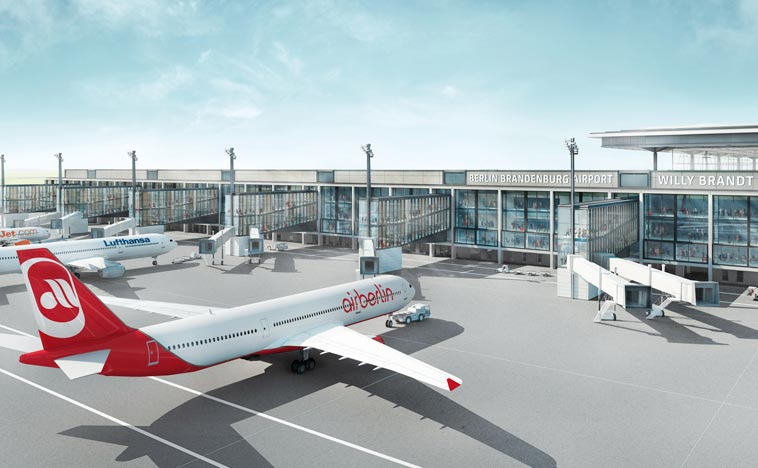 Artist rendering of the new airport (source: gmp Architekten, JSK International, Björn Rolle, Flughafen Berlin Brandenburg).