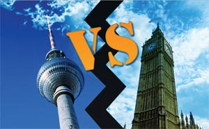 Montage: Berlinow. Photo: Berlinow (Fernsehturm) & Simone Graziano Panetto/Flickr (Big Ben).